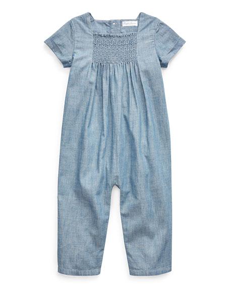 Ralph Lauren Childrenswear Girl's Chambray Smocked Romper, Size 3-9 Months