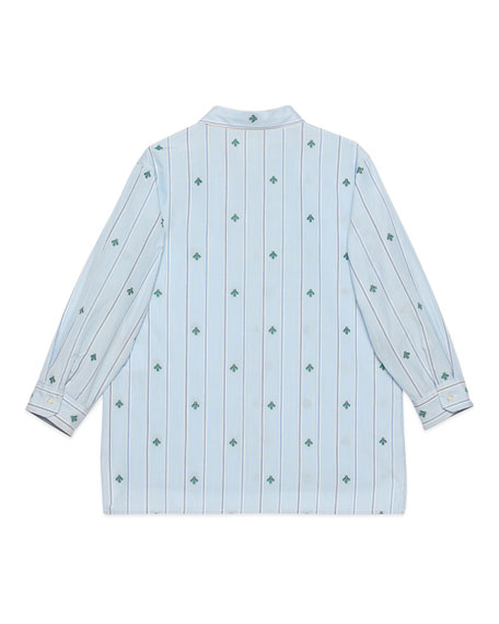 Gucci Boy's Striped Bee Fil Coupe Button-Down Shirt, Size 4-12