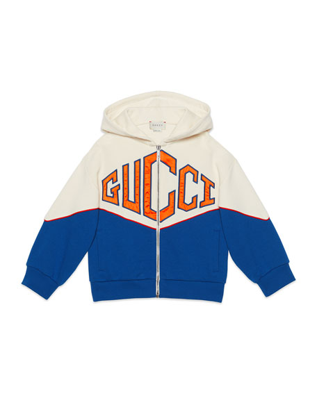 Gucci Big Logo Bicolor Zip-Front Hooded Fleece Jacket, Size 4-12