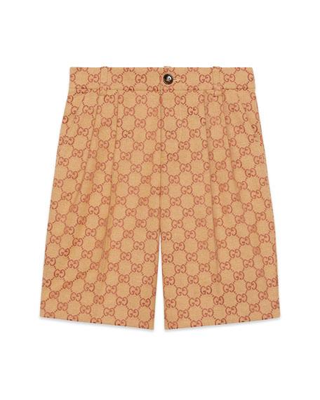 Gucci Boy's Allover GG Canvas Jacquard Shorts, Size 4-12
