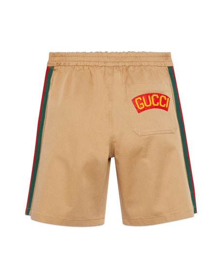 Gucci Boy's Twill Dress Shorts with Side-Taping, Size 4-12