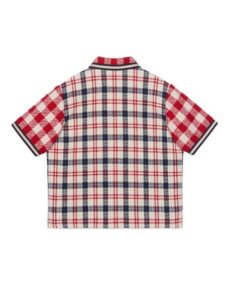 Gucci Boy's Mixed Check Short-Sleeve Button-Front Jacket, Size 4-10