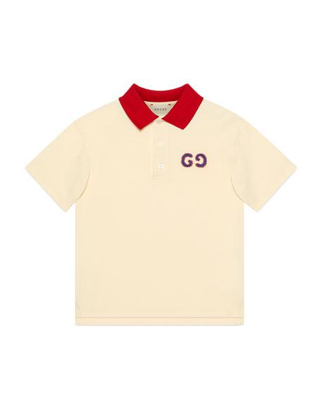 Gucci Boy's Cotton Piquet Polo Shirt w/ GG Embroidery, Size 4-12