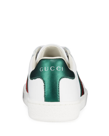 Gucci New Ace Leather Tennis Shoes, Toddler