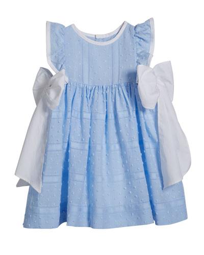 Girl's Swiss Dot Bow Dress, Size 12-24 Months