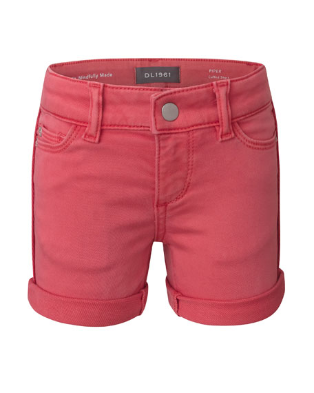DL1961 Premium Denim Girl's Piper Cuffed Denim Shorts, Size 7-16