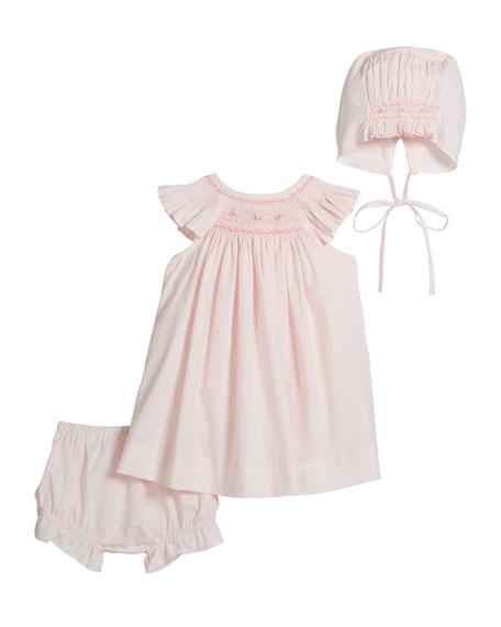 Luli & Me Girl's Smocked Bishop Dress w/ Bonnet & Bloomers, Size Newborn-9 Months