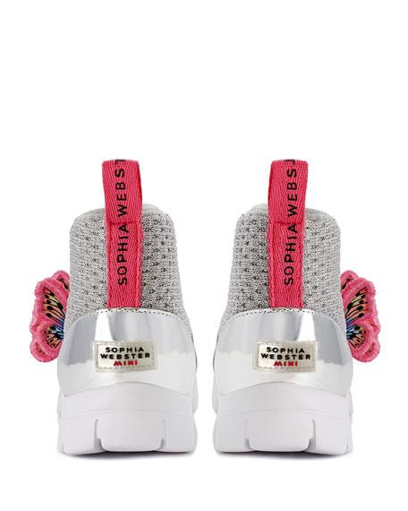 Sophia Webster Riva Knit Mid-Top Sneakers w/ 3D Butterfly Details, Baby/Toddler/Kids