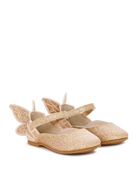 Sophia Webster Chiara Fine Glitter Butterfly Mary Jane Flats, Baby/Toddler