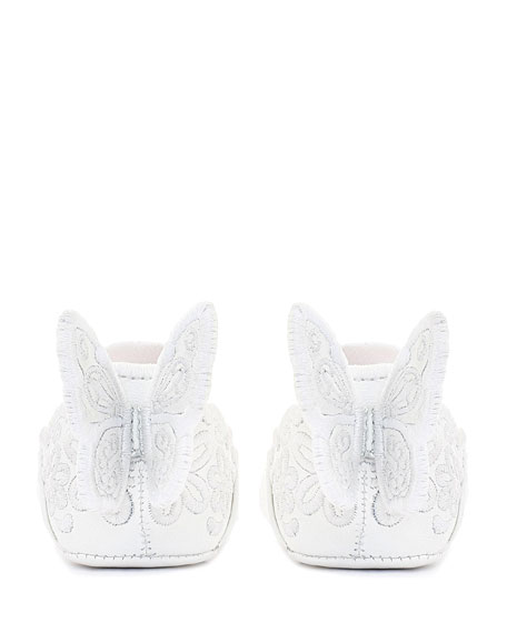 Sophia Webster Chiara Tonal Embroidered Leather Butterfly-Wing Flats, Baby