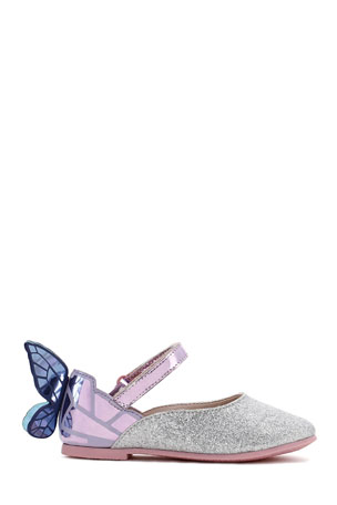 Sophia Webster Chiara Fine Glitter Mirrored Butterfly Mary Jane Flats, Baby/Toddler