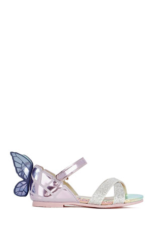 Sophia Webster Chiara Mirrored Leather Butterfly Sandals, Baby/Toddler