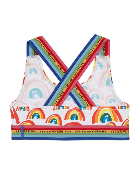 Image 2 of 2: Girl's Rainbow Printed Two-Piece Bikini Set, Size 4-14