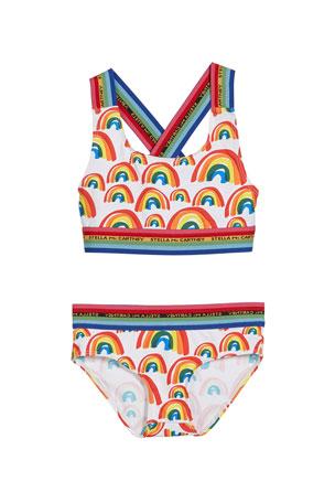 Age 6-14 DAYU Girls Swimsuit Childrens Neon Lights Print Bikini Swimwear Girls Bikini