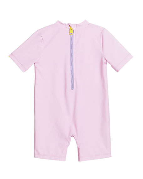 Image 2 of 2: Stella McCartney Kids Girl's Mermaid Swim Romper, Size 6-24 Months