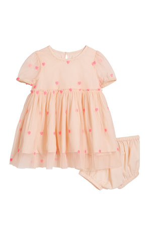 Stella McCartney Kids Girl's Hearts Embroidery Tulle Dress w/ Bloomers, Size 12-36 Months