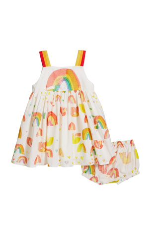 Stella McCartney Kids Girl's Sleeveless Painted Rainbow Dress w/ Bloomers, Size 12-36 Months