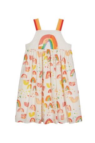 Stella McCartney Kids Girl's Painted Rainbow Sleeveless Cotton Dress, Size 4-14