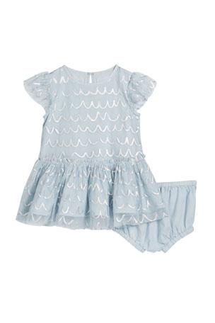 Stella McCartney Kids Girl's Shell Foil Short-Sleeve Tulle Dress w/ Bloomers, Size 12-36 Months