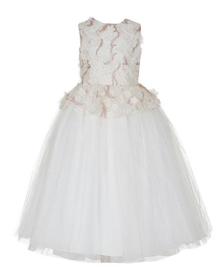 Badgley Mischka Kid's Sequin Mesh Peplum Gown w/ Tulle Skirt, Size 7-14