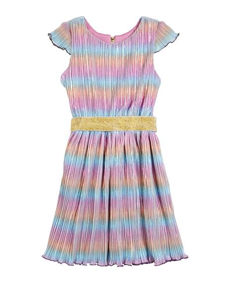 Zoe Girl's Lia Rainbow Metallic Micro Pleated Swing Dress, Size 7-16