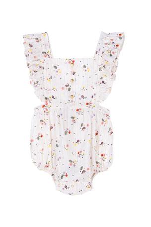Velveteen Nalia Floral Ruffle-Trim Romper, Size 3-24 Months