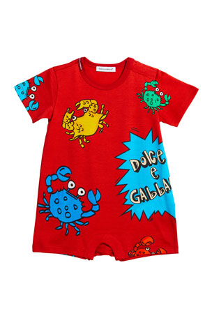 Dolce & Gabbana Boy's Crabs & Comic Graphic Jersey Shortall, Size 6-24 Months