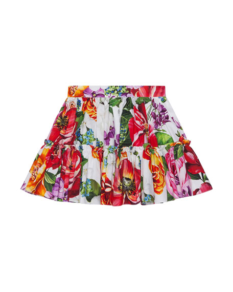 Dolce & Gabbana GIRL'S BLOOMING FLORAL PRINT TIERED SKIRT