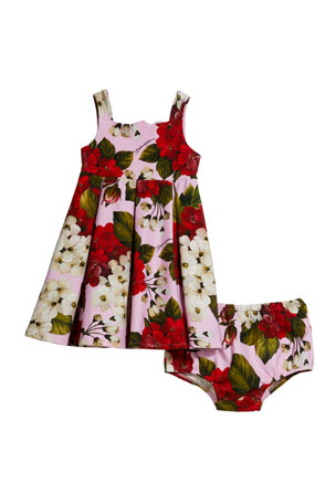 Dolce & Gabbana Blooming Geranium-Print Dress w/ Matching Bloomers, Size 12-30 Months