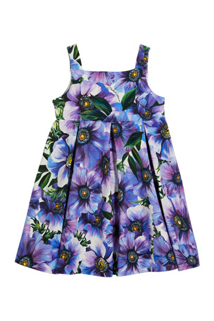 Dolce & Gabbana Girl's Blooming Floral Print Sleeveless Dress, Size 12-30 Months