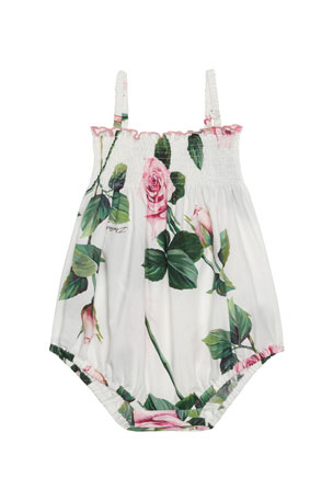 Dolce & Gabbana Girl's Tropical Rose Print Shirred Romper, Size 6-24 Months