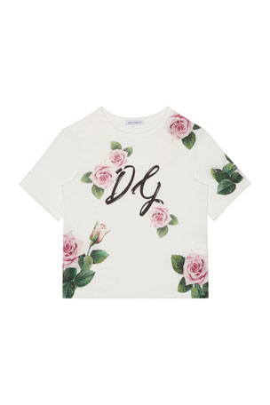 Dolce & Gabbana Girl's Scattered Rose DG Graphic Tee, Size 8-12