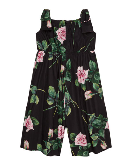 Image 2 of 2: Girl's Popeline Rosa Rose Print Jumpsuit, Size 4-6