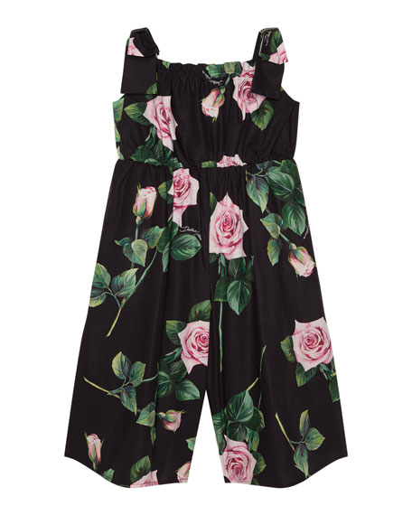 Image 1 of 2: Girl's Popeline Rosa Rose Print Jumpsuit, Size 4-6