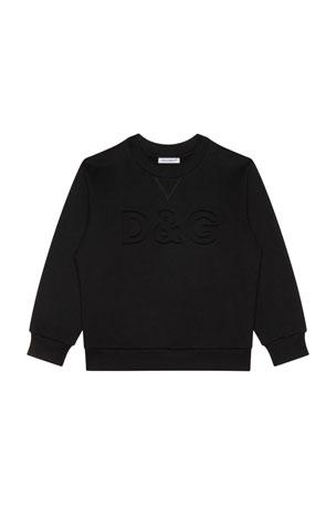 Dolce & Gabbana Boy's Tonal Embossed DG Sweatshirt, Size 8-12