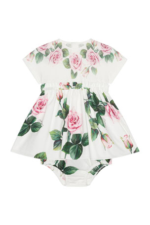 Dolce & Gabbana Girl's Rose Print Combo Dress w/ Matching Bloomers, Size 12-30 Months