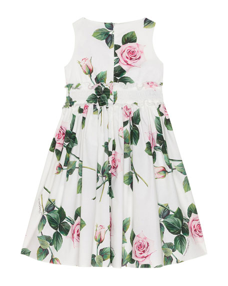 Image 2 of 2: Girl's Tropical Rose Shirred Waist Dress, Size 8-12