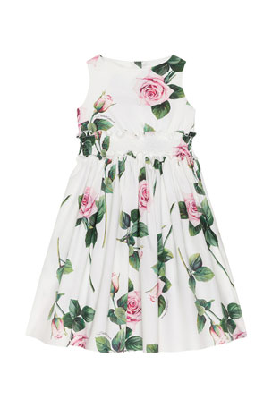 Dolce & Gabbana Girl's Tropical Rose Shirred Waist Dress, Size 8-12