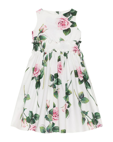 Image 1 of 2: Girl's Tropical Rose Shirred Waist Dress, Size 8-12