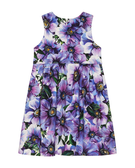 Image 2 of 2: Dolce & Gabbana Girl's Blooming Floral Sleeveless Dress, Size 8-12