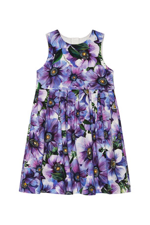 Dolce & Gabbana Girl's Blooming Floral Sleeveless Dress, Size 8-12