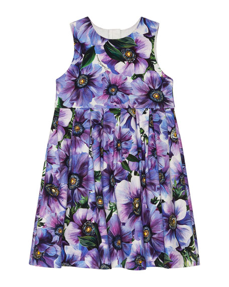 Image 1 of 2: Dolce & Gabbana Girl's Blooming Floral Sleeveless Dress, Size 8-12