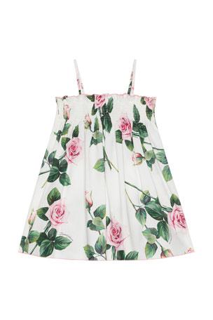 Dolce & Gabbana Girl's Tropical Rose Shirred Dress, Size 8-12
