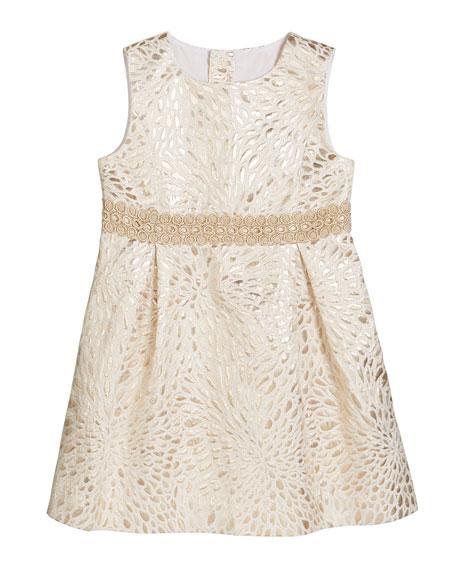 Lilly Pulitzer Girl's Abrianna Metallic Jacquard Dress, Size 2-14