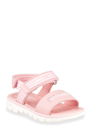 Dolce & Gabbana Grip-Strap Raised Logo Sandals, Baby/Toddler