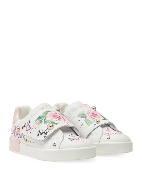 Dolce & Gabbana Floral Print Grip-Strap Leather Sneakers, Toddler