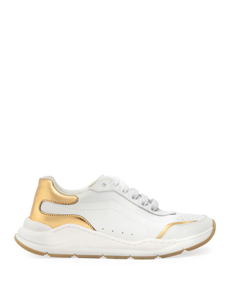 Dolce & Gabbana Day Master Gold Trim Lace-Up Leather Sneakers, Kids