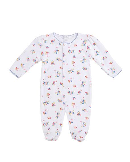 Kissy Kissy Blue Blossoms Printed Footie Pajamas, Size Newborn-9 Months