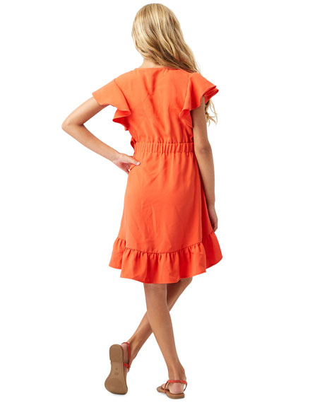 Habitual Girl's Flutter-Sleeve Ruffle Wrap Dress, Size 7-14