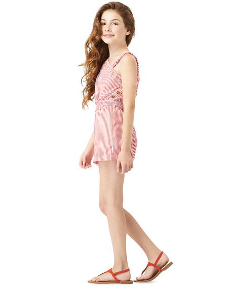 Habitual Girl's One-Shoulder Striped Romper, Size 7-14